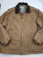 Men's Carhartt Barn Coat Lined Button Up Duck Canvas Collar Size 3XL HU