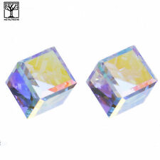 NEW Fashion Luxury Icy Men's Women's Crystal 3D Cube Push Back Post Earrings AB