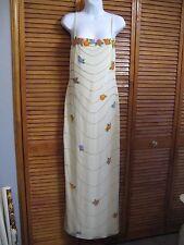 Long spaghetti strap Formal Evening Dress Hand Beaded flowers ivory white prom