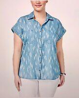 (NWT) Style&Co Women's Blue Ikat Craze V-Neck Denim Look Top Plus Sizes 2X/3X