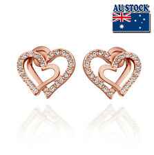 Stunning 18K Rose Gold Filled Lovely Heart Stud Earrings With SWAROVSKI CRYSTAL