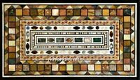 Multi Stone Inlay Work Dinning Table Top Marble Restaurant Table 30 x 48 Inches