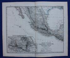 CENTRAL AMERICA, MEXICO, GUATEMALA, original antique map, Stieler 1880