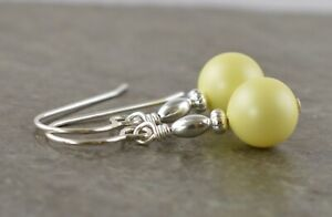Pastel Pale Yellow Crystal Pearl & Sterling Silver Drop Earrings with Gift Box