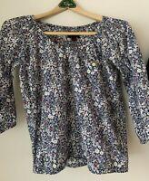 Liberty Art Fabrics For J.Crew Floral Peasant Top Button Pocket Size XXS
