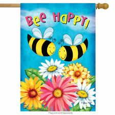 "Bee Happy Bees Spring House Flag Floral Daisies 28"" x 40"" Briarwood Lane"