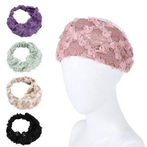 Lace Floral Hairband Elegant Women Wide Headband Elastic Hair Accessories