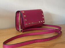 Michael Kors Ruby Ultra Pink Leather Studded Mini Crossbody Bag / Clutch Bag