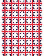 48 x UK / Union Jack Flags Pre Cut Cupcake Toppers Premium Sugar Icing Sheet