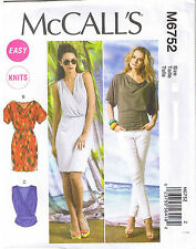 Easy Cowl Neck Top Dress Mock Wrap Surplice Sewing Pattern Plus 14 16 18 20 22