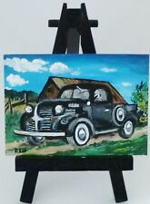 ACEO ORIGINAL PAINTING VINTAGE 1947 DODGE TRUCK BARN TREES GRASS FENCE BY REM