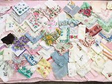 Vintage Hanky Lot of 85+ Handkerchief~Printed floral~Crochet~Embroiderd ~Flocked