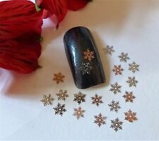50pc Nail Art Sliver Rose Gold Christmas Snowflakes Small Thin Metal Spangle SF3
