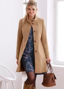 Linea Tesini by HEINE Camel Beige Wool Blend Coat Size 14 NEW