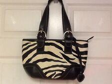 Ladies satchel beige black zebra print leather heart tassel H19
