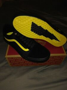 New Vans Sz 9.5 Mens Old Skool Pro BMX Larry Edgar Shoes Black Yellow Waffle