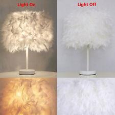 Beauty Modern Metal Feather Shade Table Lamp Desk Night Light LED Bedroom Decor