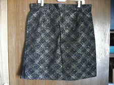 Womens BGC Metallic Print Gold Silver on Black Stretch Skirt Size 20 Made In USA