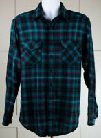 Vintage WOOLRICH Mens Large Green Black Red Plaid Long Sleeve Flannel Shirt