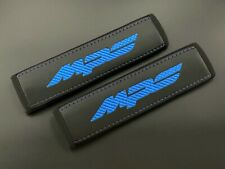 Mazda MPS black Seat belt covers pads Blue embroidery  2PCS