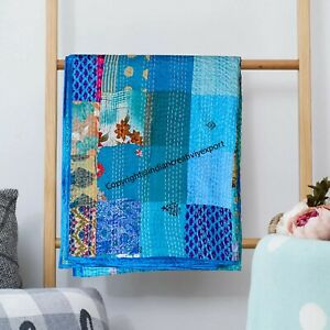 Patchwork Pattern Queen Size Indian Hand Stitched Traditional Kantha Quilt Throw