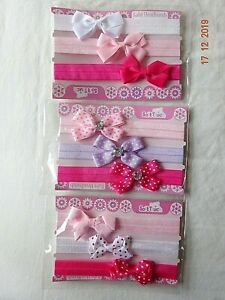 BABY GIRL BOW PINK RED WHITE POLKA DOT HEADBANDS/HAIRBAND DIAMANTE SET OF 3