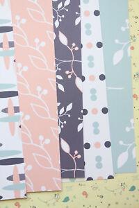 Scandi Leaves mix cardstock 250gsm pretty pastel journal scrapbooking craft card
