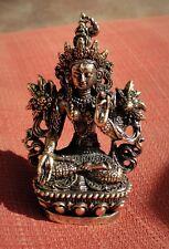 "White Tara Statue for Dharma in Nepal, Tibet 2 1/4"" High Brass"