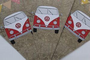 VW Camper Van Bunting Red Van 6 Card Flags Vintage Floral Map Cath Kidson Style