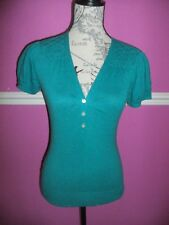 MONSOON COTTON short sleeve green TOP thin knit jumper sweater 8  EXCEL COND
