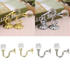2x Metal Crystal Glass Curtain Holdback Wall Tie Backs Hooks Hanger Holder Decor
