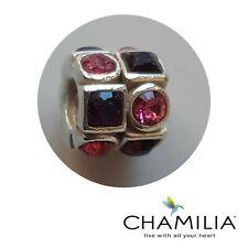 Genuine Chamilia 925 silver purple pink cz circles and squares bracelet charm