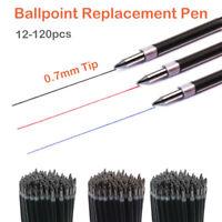 12-120Stk 0.7mm Kugelschreiberminen Ersatzmine Schutzkappe Rot Blau oder Schwarz