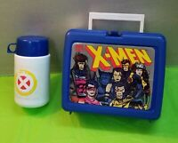 Vintage 1994 X-Men Marvel Comics THERMOS Blue Lunchbox Complete