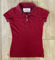 Abercrombie & Fitch Women's Polo Shirt Red Extra Small Cotton Blend