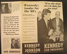1960 JFK ~  Kennedy for President ~ Original 3-fold Handbill/flyer