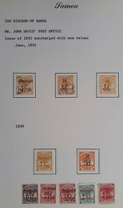 RARE 1896- Samoa lot of 10 Palm Trees stamps w surch Mint/Used