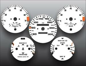1986-1991 Porsche 944 300 KMH METRIC KPH Instrument Cluster White Face Gauges