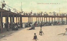 Vintage Postcard-Casino Plaground, Wildiwood, NJ, Stroling on Pier & Sun bathers
