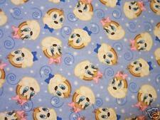 Boy & Girl Baby Monkey Faces  Flannel Fabric 1.63 Yd L