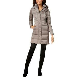 Tahari Womens Mia Taupe 2-in-1 Fitted Puffer Down Coat Outerwear XS BHFO 1560