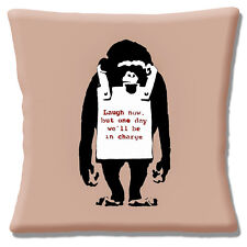 """Banksy Graffiti Artist Monkey 'Laugh Now' One Day We..  16"""" Pillow Cushion Cover"""
