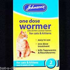 JOHNSONS ONE DOSE WORMER CAT & KITTEN WORMING TABLETS KILLS TAPEWORM & ROUNDWORM