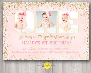 Custom Printable Girls Birthday Photo Words Invitation 1st She leaves a sparkle