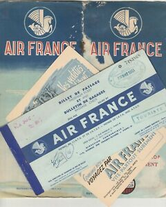 FRANCE old Rare Passenger Ticket & Brochure Rout Map with Adv.Card 1953