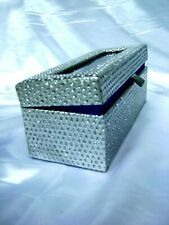 """VALENTINE GIFT 6"""" Silver Dipped Real Rose in a Silver Egyptian Casket Blue Satin"""