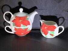 CREATIVE TOPS Poinsettia Christmas Tea Cup Teapot For One & Creamer Set GORGEOUS