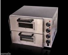 "New 220V 16"" Double Electric Pizza Oven Ceramic Stone"