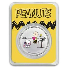 Peanuts Snoopy and Charlie Brown Valentine 1 oz Colorized Silver in TEP Pre-Sale
