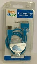 Tech&Go! Blue 2-In-1 Sync&Charge 3ft Cable Ipod/Iphone 4/Ipad+Android Devices